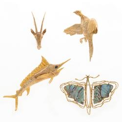 Four whimsical 14K gold animal form pins: a marlin (3 inches long), a butterfly, a pheasant and an antelope will be sold as one lot (est.  $700-$900).