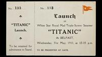 Original Titanic launch ticket will be offered by Bonhams on April 15, 2012.  The estimate is $50,000-70,000.