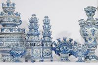 Blue and white Delft flower vases from Aronson Antiquairs.