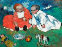 PABLO PICASSO (1881-1973) Les enfants et les jouets.  Oil on board, painted in spring 1901.  Estimate: US$5.5 – 7.5 million.