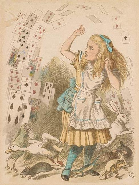 John Tenniel (1820–1914) Nothing but a pack of cards! Hand-colored proof, ca.  1889 The Morgan Library & Museum, New York.  Gift of Arthur A.  Houghton, Jr., 1987, 2005.203.  Photography by Steven H.  Crossot, 2014.