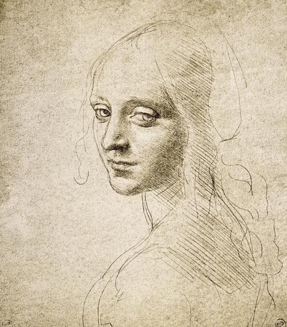 "Head of a Young Woman (Study for the Angel in the ""Virgin of the Rocks""), about 1483-85, Leonardo da Vinci"