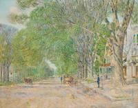 Exceptional painting by Childe Hassam (Am., 1859-1935), titled The East Hampton Elms.