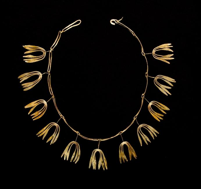 Necklace, circa 1943 Forged and fabricated gold Chain: 9 in.  (22.9 cm) Pendants: 1 3/4 × 1 1/8 × 1/16 in.  (4.4 × 2.9 × 0.2 cm), each Collection of Kim and Al Eiber Photograph by Tim Thayer and R.  H.  Hensleigh