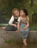 WILLIAM ADOLPHE BOUGUEREAU (French, 1825-1905).  Fishing For Frogs, 1882.  Oil on canvas.  54 x 42 inches.