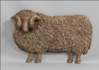 "Impressive Figurative Wool Merchant's or Draper's Trade Sign of Figurative Sheep Form Hand Carved and Painted Wood.  English, c.1880.  43"" long x 28"" high x 8"" deep."