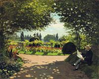 Claude Monet, Adolphe Monet in the Garden of Le Coteau at Sainte-Adresse, oil on canvas, 32 1/2 x 39 5/8 in., 1867.  Anonymous loan.