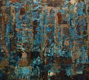 "Jonathan Chanduvi, February Rain, 2012.  Plaster and lacquer on wood 41.5"" x 47.5""."