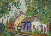 Oil on board by Charles Camion (Fr., 1879-1965), titled Village Street Scene (est.  $15,000-$25,000).