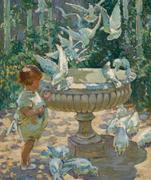 Dorothea Sharp's lyrical, sun-dappled oil painting At the Fountain (estimate: $50,000+).