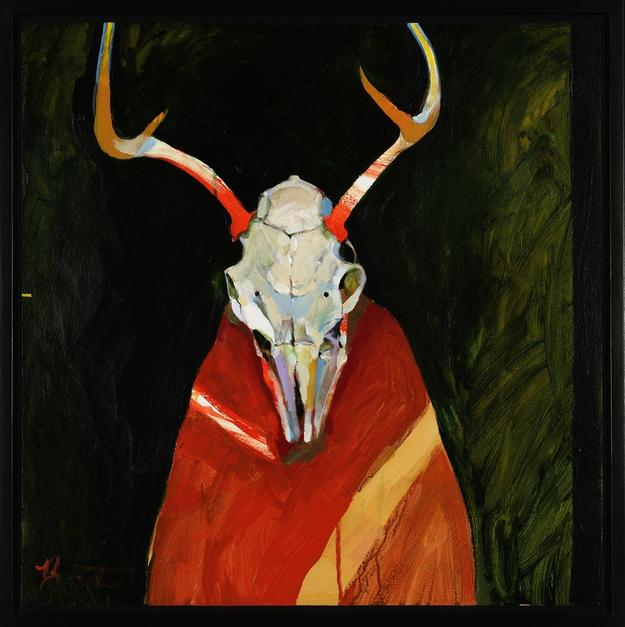 Rick Bartow, Deer Spirit for Frank LaPena, 1999, Acrylic on panel, 24 x 24 in., private collection © Rick Bartow