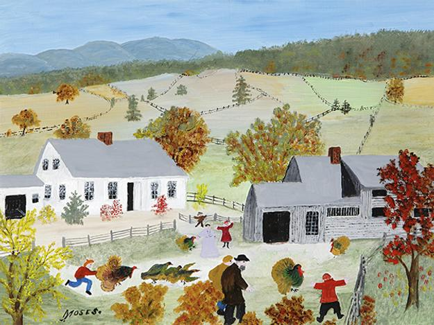 "Anna Mary Robertson ""Grandma"" Moses (1860-1961) Catchin' The Turkey, 1955 Oil on pressed wood, 12 x 16 inches Collection of Bennington Museum Copyright © 2017, Grandma Moses Properties Co., New York.  Part of ""Grandma Moses: American Modern"" at the Bennington Museum, July 1-Nov.  1, 2017."