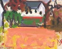Abstract: Landscape of Pink Fields by Robert De Niro Sr.  was one of the works listed in the grand larceny charge against Leigh Morse.  (Image: Manhattan District Attorney's Office)
