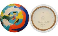"Counterfeit Damien Hirst ""spin"" paintings, front and back."