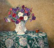 "Wilson H.  Irvine (1869 - 1936) Still Life with Petunias, signed, Irvine, lower left, oil on canvas, 24"" x 27"""