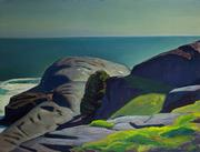 "Rockwell Kent-Monhegan (c.1948) 12"" x 16"" oil on board"