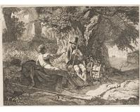 The Artist Resting with His Guide by the Roadside, 1819.  Johann Christoph Erhard, German, 1795 1822.  Etching and engraving and drypoint, Plate: 7 15/16 x 8 1/16 inches (20.2 x 20.4 cm), Sheet: 8 3/16 x 10 11/16 inches (20.8 x 27.2 cm).  Philadelphia Museum of Art