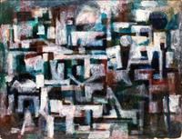 Maurice Golubov, Nocurnal, Blue and White, 1939.  Oil on board, 34 x 44 inches.