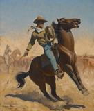 Maynard Dixon (1875-1946) Cowpuncher, 1927.  Oil on canvas, 30.25 x 25 inches.