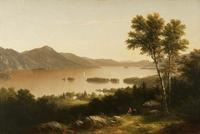 John William Casilear (1811-1893) Lake George, 1857.  Oil on canvas, 20 x 30 inches.  Signed and dated lower, right: JWC 57