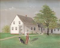 Original oil on canvas landscape scene by iconic American artist Grant Wood (1891-1942).