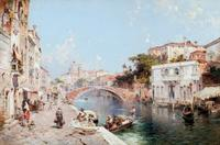 Oil on canvas by Franz Richard Unterberger (Austrian, 1838-1902), titled Canal in Venice (est.  $150,000-$250,000).