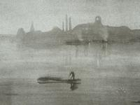 James Abbott McNeill Whistler, American, 1834–1903; Nocturne, the River at Battersea, 1878, lithotint with scraping on laid paper, mounted on wove paper; Carnegie Museum of Art, Bequest of Charles J.  Rosenbloom, 74.7.243