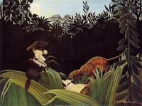 Eclaireurs attaqués par un tigre, 1904, by Henri Rousseau.