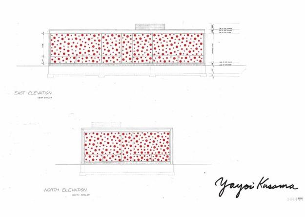 Dots Obsession rendering design.  Courtesy the Glass House and KUSAMA Studio.