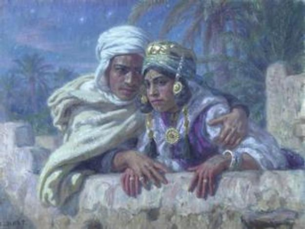The Lovers by the French Orientalist painter Etienne Dinet (1861–1929), estimated at £50,000-70,000
