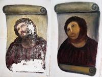 Two hand-out photos show the unrestored work (left) and the Ecce Homo-style fresco of Christ after an elderly woman attempted to restore it (right).