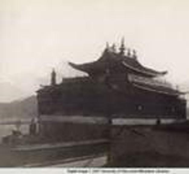 Tashilhunpo Monastery from the south; Gobonjab Tsybikoff; Tibet; 1900-1901; Reproduction print of original black and white album photograph; From the American Geographical Society Library, University of Wisconsin-Milwaukee Libraries; Digital Photo Archive, PC 40C 38