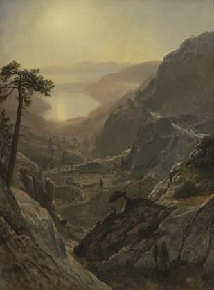 Albert Bierstadt, View of Donner Lake, California (Detail), Oil on paper mounted on canvas, 1871–72, 29 ¼ x 21⅞ inches, Collection of Fine Arts Museums of San Francisco, Gift of Anna Bennett and Jessie Jonas in memory of August F.  Jonas Jr, © Fine Arts Museums of San Francisco