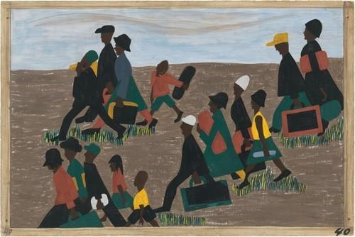 "Jacob Lawrence.  The Migration Series.  1940-41.  Panel 40: ""The migrants arrived in great numbers."" Casein tempera on hardboard, 18 x 12″ (45.7 x 30.5 cm).  The Museum of Modern Art, New York.  Gift of Mrs.  David M.  Levy.  © 2015 The Jacob and Gwendolyn Knight Lawrence Foundation, Seattle / Artists Rights Society (ARS), New York.  Digital image © The Museum of Modern Art/Licensed by SCALA / Art Resource, NY"