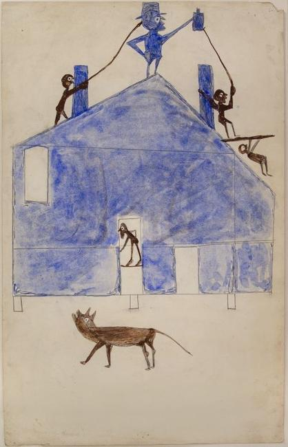 Bill Traylor, House, ca.  1941, watercolor and graphite on cardboard.  Montgomery Museum of Fine Arts, Montgomery, Alabama, Gift of Charles and Eugenia Shannon, 1982.4.29