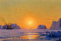 William J Bradford, Off the Greenland Coast under the Midnight Sun, 1873, oil on panel, 13 x 21 in.