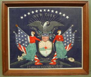 "New York State Seal, ""Fearless and Independent,"" a fine pristine Japanese export silkwork picture, c.  1890."