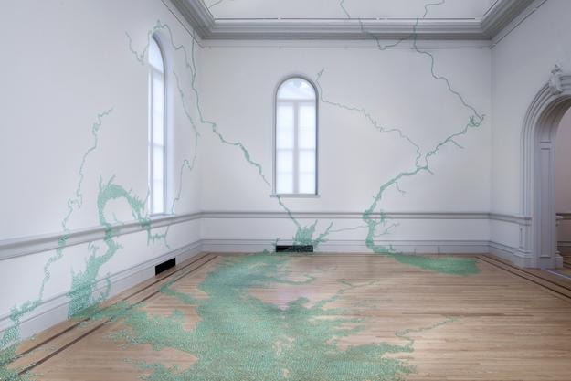"""Maya Lin: A River Is a Drawing"" opens Oct.  12 at the Hudson River Museum.  Maya Lin, Folding the Chesapeake, 2015.  Glass marbles, adhesive.  Smithsonian American Art Museum Permanent Collection.  Photo Credit: Ron Blunt, courtesy Smithsonian American Art Museum."