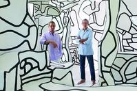 Pace Gallery's Marc and Arne Glimcher inside Jean Dubuffet's 'Chambre au Lit Sous l'Arbre' (1970-77) at Arne's East Hampton home.