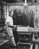 Hans Burkhardt in his studio, 1956.