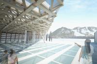Rendering of the new roof deck sculpture garden at the Aspen Art Museum.