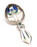 Spoon, 1900-05, by Archibald Knox (1864-1933), sterling silver with enamel details.  Collection of Kirkland Museum of Fine & Decorative Art.