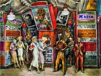 Reginald Marsh (1898-1954), Twenty Cent Movie, 1936.  Egg tempera on composition board, 30 x 40 in.  (76.2 x 101.6 cm).  Whitney Museum of American Art, New York; Purchase 37.43 © 2011 Estate of Reginald Marsh / Art Students League, New York / Artists Rights Society (ARS), New York