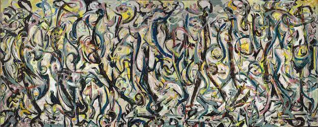 Jackson Pollock, Mural, 1943.  Oil and casein on canvas.  243.21 x 603.25 cm.  The University of Iowa Museum of Art, Gift of Peggy Guggenheim.  © The Pollock-Krasner Foundation ARS, NY and DACS, London 2016.