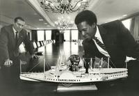 Author presenting model of DANIEL DREW to Bank Of America Boardroom (formerly Fleet Bank) circa mid-'80s.