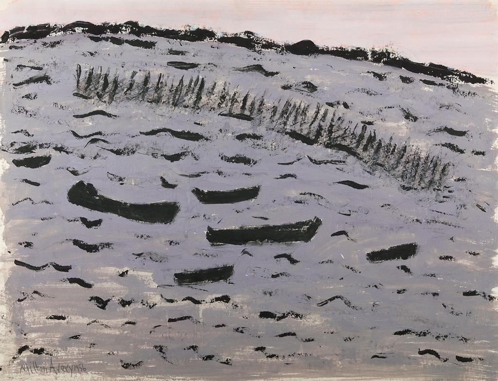 Milton Avery (1885–1965) Sunset Harbor (Choppy Bay), 1956 Gouache on paper 19¾ x 25⅝ inches (sight size) Signed and dated lower left: Milton Avery 1956