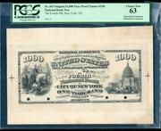 This exceedingly rare proof of an original series $1,000 face charter #290 U.S.  National Bank Note fetched $96,050.