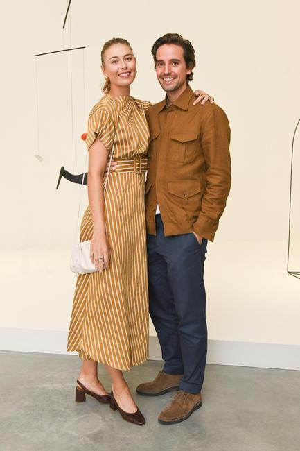 Tennis star Maria Sharapova and Paddle8's Alexander Gilkes at the PACE global flagship gallery opening in Chelsea.