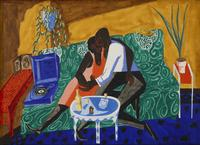 Jacob Lawrence (1917-2000) The Lovers, 1946.  Gouache on paper 21 ½ x 30 inches.  Signed and dated lower right.  Jonathan Boos.