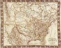 """""""North America from the most Authentic and Latest Surveys"""" by R.  Gray.  Published Glasgow, 1811.  Engraving in sepia ink on linen, 15 x 21 inches."""